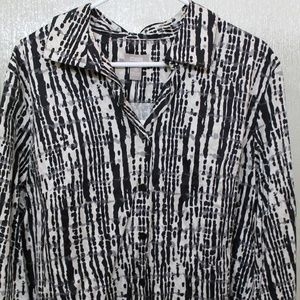 Chico's Button Front Blouse 3/4 Sleeves Size 3